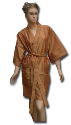Satin Kimono Bath Robe Night Gown Geisha Flower Japan unisize for L / XLM orange KU01