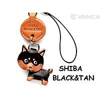 本革 携帯犬ストラップ プチワンチャン シバイヌ(柴犬) ブラックタン 【VANCA】【日本製、職人のハンドメイド】