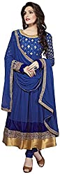AAINA Women's Georgette Unstitched Dress Material (Blue)