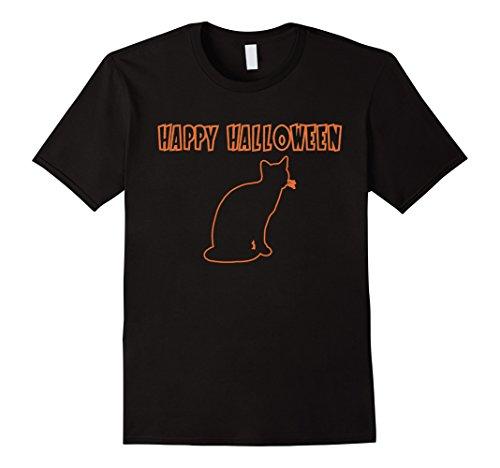 Men's Cat - Happy Halloween Costume T-Shirt Medium Black (Halaween Costume)