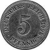 5 Pfennig Imperio Alemán, 1908 A (Jäger: 12) MBC