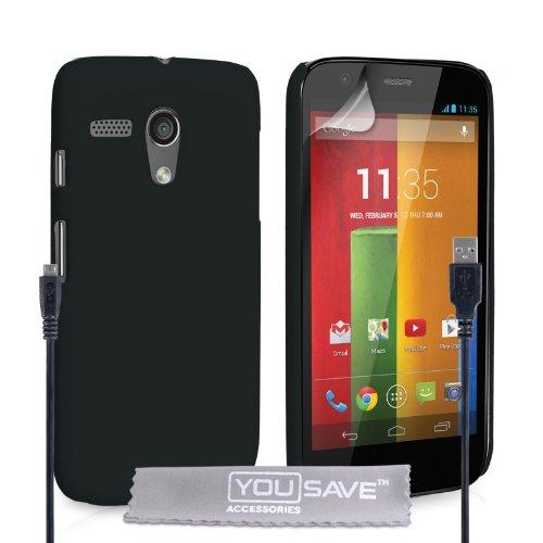 Yousave Accessories Motorola Moto G Hülle Schwarz Hart Hybride Schutzhülle Und USB-Kabel