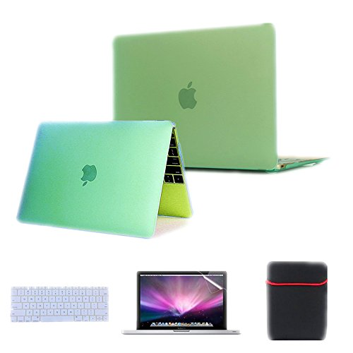 Se7enline 4 in 1 Case for Apple MacBook MK4M2LL/A 12-Inch Laptop with Retina Display 2015 NEWEST VERSION NEW Release Rubberized Frosted Soft Touch See Thru Hard Shell Case Cover for Macbook 12'' inch Retina Display , AquaGreen/Seafoam Green+Transparent Clear Silicone Keyboard Protector+ Clear LCD Screen Protector +Soft Sleeve Protective Bag