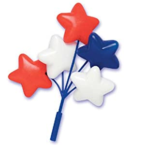 Dress My Cupcake DMC41STR-901RWBSET Star Balloon Cluster Pick Decorative Cake Topper, 4th of July, Red/White/Blue, Case of 36