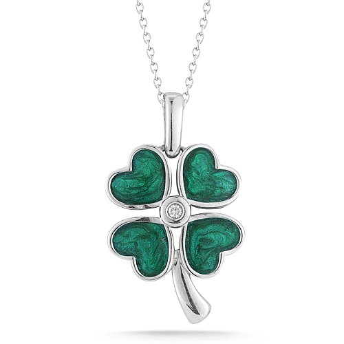 Sterling Silver Green Enamel with Diamonds Four-Leaf Clover Pendant Necklace (0.03 cttw, I-J Color, I2-I3 Clarity), 18