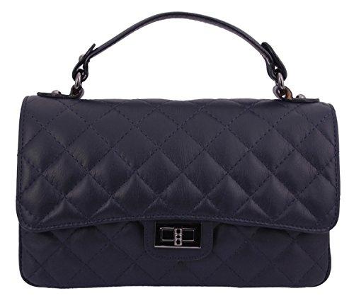 slingbag lilly ii abendtasche clutch aus echtem leder mit tragekette farbauswahl dunkelblau. Black Bedroom Furniture Sets. Home Design Ideas
