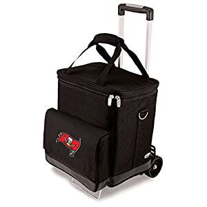 NFL Tampa Bay Buccaneers Insulated Cellar Six Bottle Wine Tote with Trolley