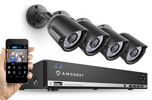 Amcrest 960H Video Security System Four 800+TVL Weatherproof Cameras, 65ft