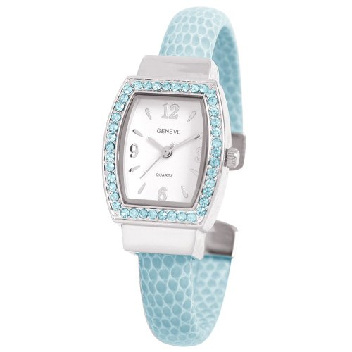 Ewatchfactory Women's 0914BG0003 March Birthstone Simulated Leather Bangle Cuff Watch