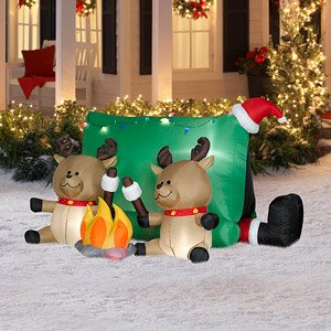 Christmas Decoration Lawn Yard Inflatable Airblown Santa With Camping Reindeer 4' Tall front-370597