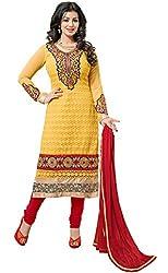 Blissta Yellow georgette karachi work salwar suit dress material