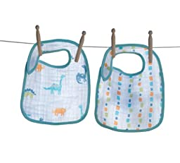 Angel Dear Soft 2 Pack 100% Soft Muslin Cotton Snap Bibs, Dinosaurs