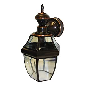 Click to read our review of Outdoor Wall Lighting Fixtures: Heath Zenith SL-4166-AC Motion-Activated Six-Sided Coach Light, Antique Copper with Beveled Glass