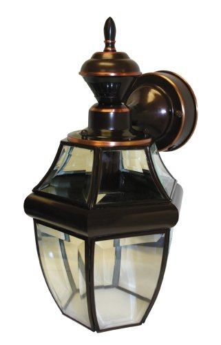 Images for Heath/Zenith SL-4166-AC Motion-Activated Antique-Copper 6-Sided Coach Light with Beveled Glass