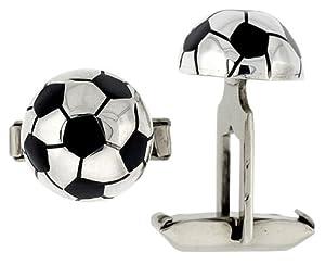 Sterling Silver Soccer Ball Cufflinks Swivel Bar, 5/8 inch wide