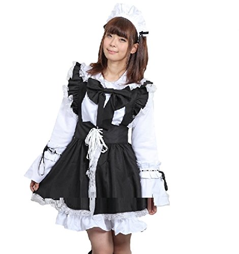 SSJ Japanese Gothic Lolita Maid Cosplay High Quality Costume Dress 3pc