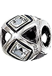 Zable Sterling Silver Square Crystals Bead