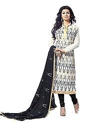 The Fashionup White Chanderi Embroidered Dress Materia