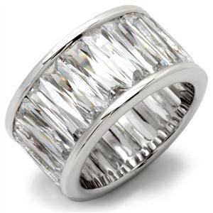 Silver Plated Cubic Zirconia Baguette Eternity Band SZ 8