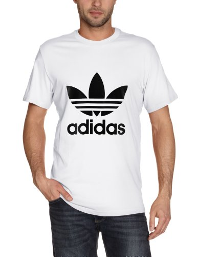 adidas, Maglietta uomo Trefoil Maglietta, Bianco (weiß/schwarz), XL