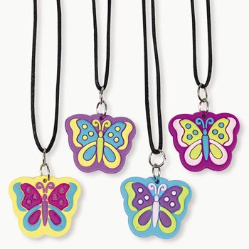 One Dozen Rubber Butterfly Necklaces