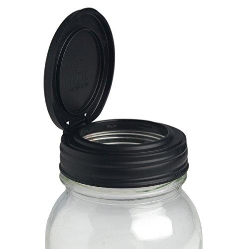 reCAP Mason Jars FLIP, Regular Mouth, Canning Jar Lid, Black (Jar Pour Lid compare prices)