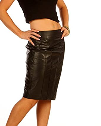 luxury real leather womens pencil skirt tight fit nappa