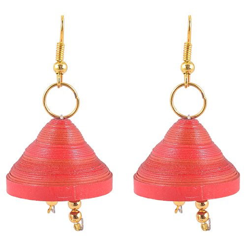 Red Kaagitham Red Quilled Paper Jewelry Jhumki With Gold Beads For Women (Yellow)