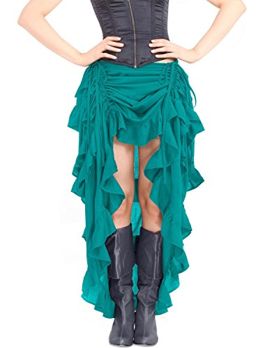 ThePirateDressing Steampunk Victorian Gothic Punk Vampire Show Girl Skirt C1367 [Teal] [Small] steampunk buy now online