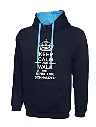 Keep Calm And Walk The Miniature Schnauzer Navy Blue & Sky Blue Contrast Hoody