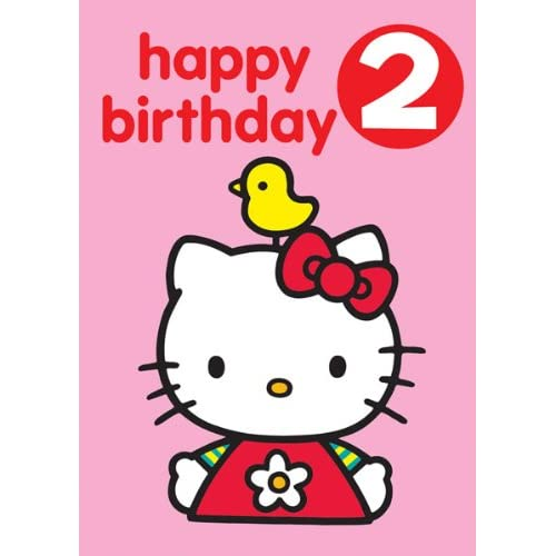 hello kitty happy birthday 2 badge greetings card. Black Bedroom Furniture Sets. Home Design Ideas
