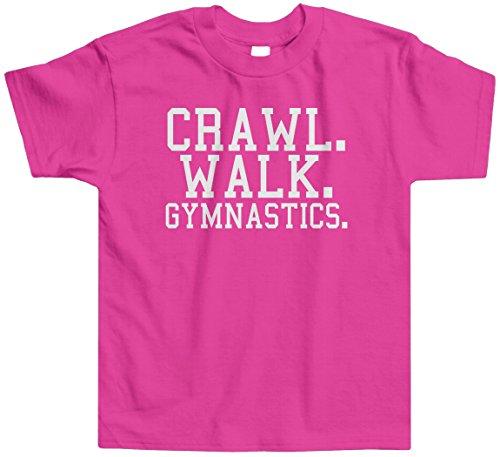 Threadrock Little Girls' Crawl Walk Gymnastics Toddler T-Shirt 2T Hot Pink front-575939