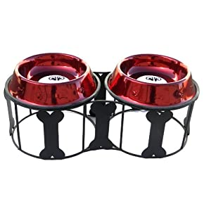 Platinum Pets Deluxe Bone Double Diner Stand with Two Candy Apple Red 4 Cup Bowls