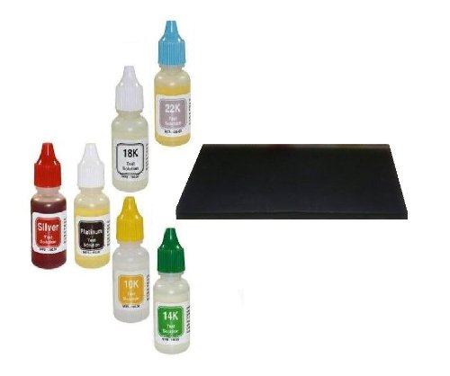 Home Scrap Jewelry Testing Kit-Silver Gold Platinum-With Pro Deluxe Test Stone Surface