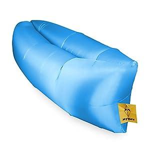 Myguru Gonflable en Plein air Canapé Couch Meubles Portable Sleeping Hangout Lounger Imitate Nylon Externe PVC Interne pour l'été Camping Plage (Bleu 1)
