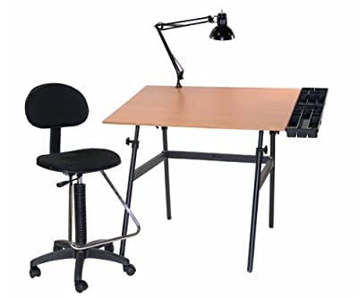 Offex Berkeley 4-pc Combo Black w/ Cherry wood Top Tray Lamp and Drafting Table With Height Chair For Crafting / Drawing