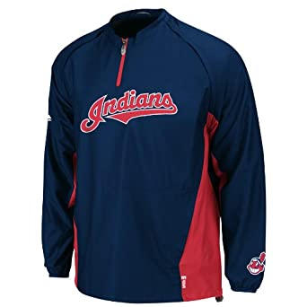 MLB Mens Cleveland Indians Gamer Jacket Long Sleeve 1 4 Zip V-neck Gamer Jacket by Majestic