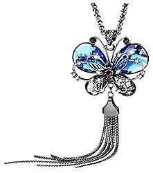 Sorella'z Blue Butterfly Long Gun Black Chain Necklace
