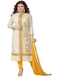 Aryan Fashion Designer Cream & Beige Embroidered Cotton Semi-Stitched Salwar Suit For Women & Girls Party Wear...
