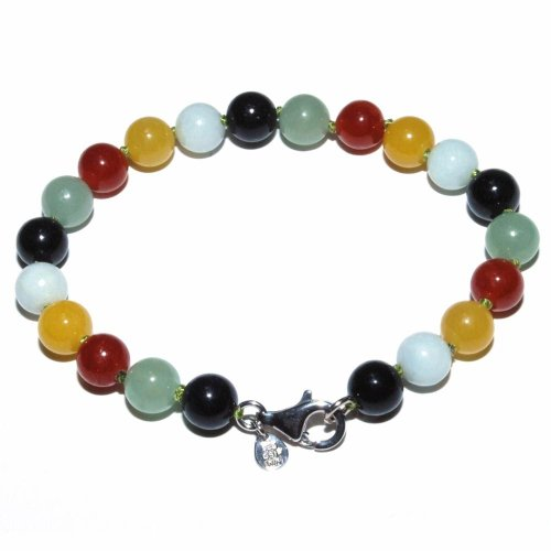 Multi-Colored Jadeite Beaded Bracelet