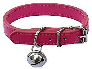 Hot Pink Fashion Leather Pet collars for Cats,Baby Puppies Dogs,Adjustable 8
