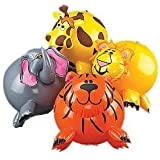 12-pack Inflatable Jungle Animal Shaped Beach Balls, Assorted Colors