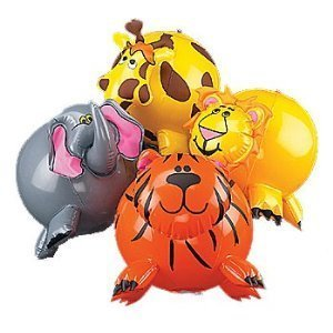 12-pack Inflatable Jungle Animal Shaped Beach Balls