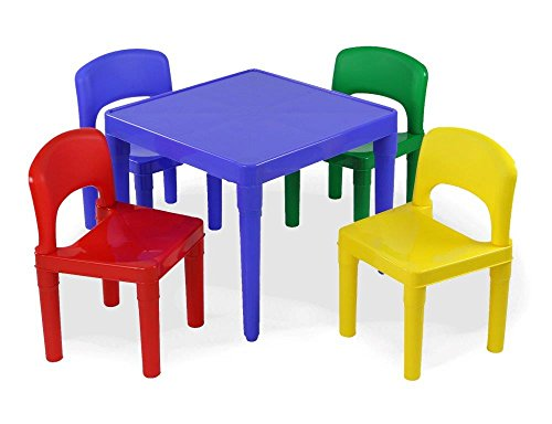 Tot tutors kids plastic table and 4 chairs set primary for Kids plastic chairs
