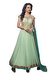Style Amaze Net Sky Blue Dress Material