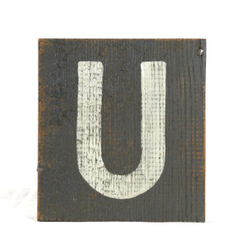 ZENTIQUE Wooden Letter, Small, Monogrammed U - 1