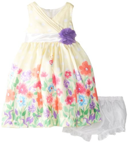 Nannette Baby-Girls Newborn 2 Piece Floral Dress Set, Lemon Juice, 3-6 Months