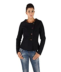 Owncraft Women's Woolen Jacket (Own_296_Navy _Large)