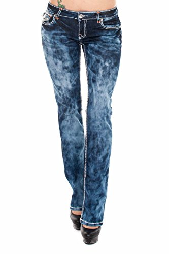 VIRGIN ONLY Women's Slim Fit Low Rise Straight Leg Denim Jeans (Blue Tie-dye , Size 27) (Tie Dye Jeans compare prices)