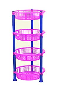 NOVICZ 4 Layer Kitchen Rack Stand Fruits Vegetable Rack Storage Household Office Rack Storage Stand -Pink